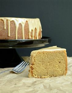 Brown Sugar Pound Cake with Caramel Glaze