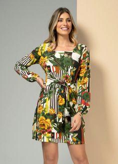 Vestido Feminino Mindset Midi Estampado Floral Manga Longa