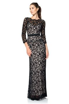 Tadashi Shoji Lace Boatneck ¾ Sleeve Gown with Grosgrain Ribbon Belt