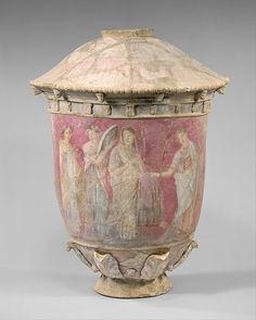 Terracotta vase  This is a mixture of Hellenstic and Sicilian art. It shows a bride with her maids before her wedding. The colours are very different from the 'usual' terracotta vases from the Greek period. 39.4cm high Greek/Sicilian, Hellenistic Period, Centuripe, 3rd - 2nd century AD Source: Metropolitan Museum