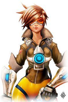 tracer by Wolfenborg.deviantart.com on @DeviantArt - More at https://pinterest.com/supergirlsart/ #tracer #overwatch #blizzard #female #girl #character #fanart