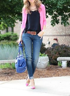 Crew (similar here, here) Top: Nordstrom Rack (similar here, here) Jeans: Mother Denim (great option on sale) Shoes: DSW (also love these in mint) Belt: H&M (super old) Bag: Oliva + Joy c/o Necklace: J.Crew (similar options… Cardigan Outfits, Casual Outfits, Cute Outfits, Pink Cardigan, Pink Sweater, Passion For Fashion, Love Fashion, Womens Fashion, Mother Denim
