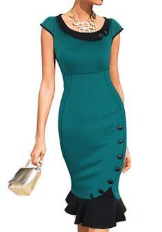 Green Plain Buttons Ruffle Cap Sleeve Dress