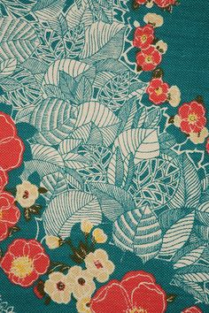 Pretty floral and leaf fabric, seafoam coloured background, with seafoam & white leaves, reddish flowers