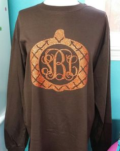 Fall Pumpkin Monogrammed Glittered Vinyl LONG or by AndMore2004