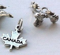Charms, Travel: Canada Leaf & Moose Head Sterling Silver Charms (2)