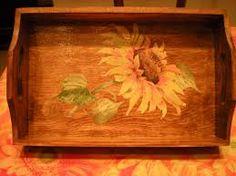decoupage vassoio legno