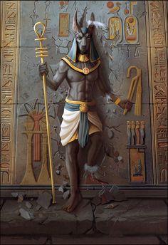 Anubis the Egyptian God Egyptian Mythology, Egyptian Symbols, Egyptian Goddess, Egyptian Art, Egyptian Anubis, Osiris Tattoo, Anubis Tattoo, Fantasy Wesen, Egypt Concept Art