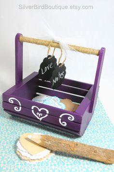 Wedding Basket, Marriage Advice Card Holder, Chalkboard Tags, Advice for Bride and Groom Basket, Wooden Keepsake Gift Box, Purple, White