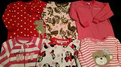 Toddler Girl 3T Carter's Footed Sleepers Pajama Sets Fall Winter Clothes Lot #CartersChildofMineCalvinKleinDisneyPlace #OnePiece