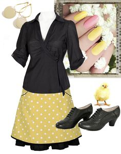 Happy Easter styling: Ecoutures DOThea skirt with the Tie-shirt. A hairstyle with fine feathers in. accessories: Our star Dot-earrings, Précisions wonderful nail polishes, which is FDA approved and contains no phthalates (DBP), toluene, formaldehyde or benzene. and shoes from Martin Natur.