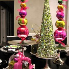 Gleaming pink and Green Chrismas Decoration