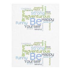 BE Yourself Motivational Word Cloud Fleece Blanket