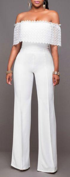 Trendy Fashion Off Shoulder Wide Leg Pants Jumpsuit   3 Colors: #looks #dresses #fashion #style @Creativada