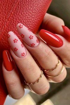 Classy Nail Designs, Red Nail Designs, Pretty Nail Designs, Acrylic Nail Designs, Cute Red Nails, Bright Red Nails, Pretty Nails, Nail Art Vermelho, Red Summer Nails