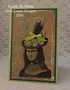 Funky Mona from Lost Coast Designs Stamps on card by Karen McAlpine