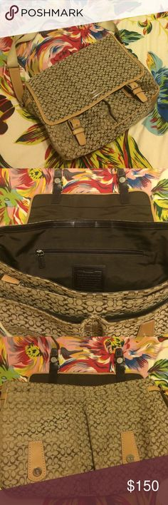 Coach Bag My life saver during school. Fits laptop, books, and any other item you can think of. There is a scratch on the front where the bottoms connect and the bottom of the bag as basic wear from being put on down. Overall in excellent condition and in need of a new home. Coach Bags Laptop Bags