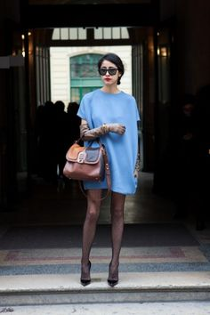 Blogger Denni in a Chic Egg-Shaped Top (Paris Fashion Week)