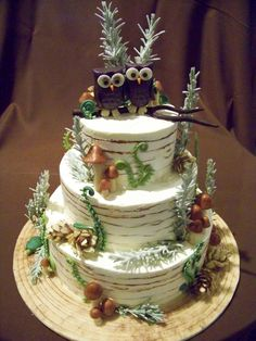 winter forest inspired, with owls wedding cake