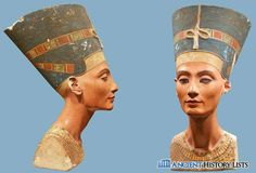 The bust of Queen Nefertiti, made around 1340 BC. The bust was sculpted from a single cube of limestone, coated in gypsum stucco, and then painted. Egyptian Names, Ancient Egyptian Art, Ancient History, Canopic Jars, Book Of The Dead, Queen Nefertiti, Valley Of The Kings, African Artists, Tutankhamun
