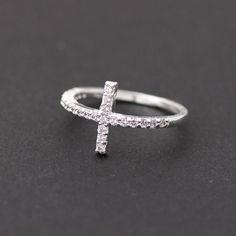 sideways cross rings with swarovski