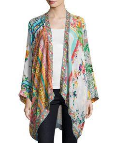 Johnny Was | Scarf-Print Georgette Kimono Jacket