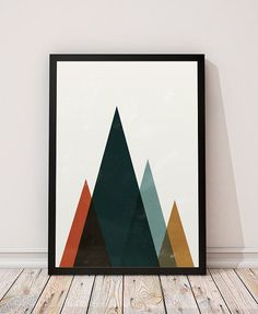 Watercolor print Geometric art Abstract wall by ShopTempsModernes