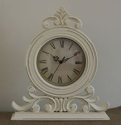 Vintage Chic Mantel Clock Shabby Painted White French Boroque Style Carriage