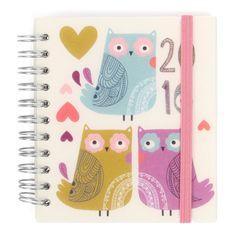 Agenda semainier compact 2016 Owls motif hiboux