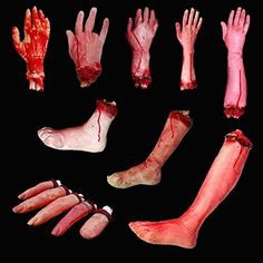 Halloween Horrible Scary Props Bloody Faked Human Arm Finger Leg Foot Decor