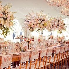 Vintage table scape by with lush oversized arrangements and pink accents. Wedding Table Centerpieces, Flower Centerpieces, Reception Decorations, Table Decorations, Reception Ideas, Floral Wedding, Wedding Flowers, Color Durazno, Wedding Motifs
