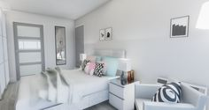 Bright fresh contemporary bedroom by MiD Interior Design And Graphic Design, Retail Interior Design, Contemporary Bedroom, 3d Rendering, Minimalist, Bright, Fresh, Furniture, Home Decor