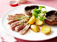 Gegrilde steak met mierikswortel en champignons