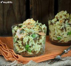 Ensalada de arroz con lentejas y gambitas - L´Exquisit Salad Recipes, Healthy Recipes, Mexican Food Recipes, Ethnic Recipes, Spanish Food, Everyday Food, Guacamole, Potato Salad, Tapas