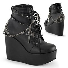 big sale 89951 64cfe Demonia Poison 101 Black Matt Lace up Ankle Boots with Chain Detail and  Cross… Svarta