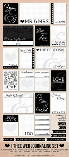 I Thee Wed: Modern Wedding Project Life Journaling Card Set with Sentiment Cut Outs for Photos., via Etsy.