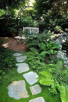 Shade garden seating area.