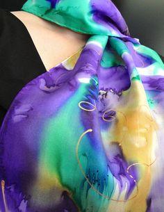 Amethyst Floral Hand Painted Silk Scarf from by OceanAvenueSilks, $38.00