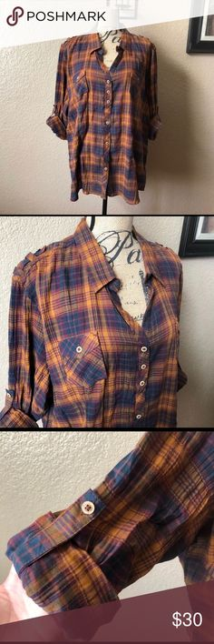 • natural reflections plaid top • Size 2x plus size plaid top from Natural Reflections. It has brown & blue colors, button up shirt. Sleeves can be buttoned up. Crinkle/ wrinkled style. Super cute! New with tag. Natural Reflections Tops Button Down Shirts