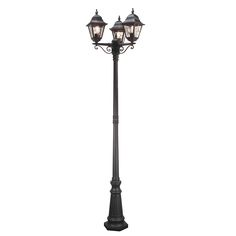 NR8 Norfolk Triple Headed Leaded Lantern Post in Black Unique Styling and Exceptional Value. Outdoor IP43 Rated Ealch Lantern Panel features 5 separate pieces of glass, hand welded together. Backed by 5 years anti-corrosion guarantee. Corner Bracket C-BKT5 is available for wall models 3 x 100w E27 GLS Lamp not included Height 227cm Width 60cm