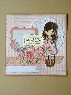 Card designed by Yolande with Gorjuss girl stamp