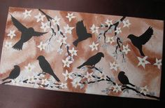 birds and cherry blossom tree trees large abstract art by SheerJoy, $49.00