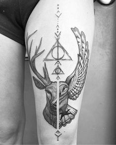 50 insanely crazy Harry Potter tattoos that really inspire 50 insane . - 50 Insane Harry Potter Tattoos That Really Inspire 50 Insane Harry Potter Tattoos That Really Inspi - Stag Tattoo, Hp Tattoo, Tattoo Style, Hedwig Tattoo, Loki Tattoo, Tattoo Thigh, Tattoos For Women Small, Small Tattoos, Tattoos For Guys