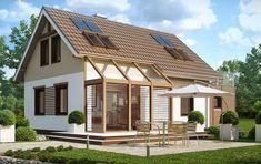 Plano de casa rustica con rasgos modernos de 3 dormitorios y 2 plantas