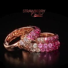 Le Vian® Strawberry Ombré™ featuring sweet hues of Passion Ruby™, Strawberry Sapphires™ and Vanilla Sapphires™.exclusively at Zales. Diamond Jewelry, Gold Jewelry, Jewelry Rings, Jewelry Accessories, Jewelry Design, Zales Jewelry, Ruby Diamond Rings, Ruby Jewelry, Jewelry Ideas