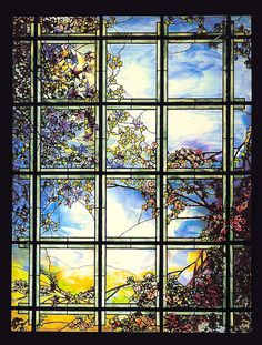 """Louis Comfort Tiffany skylight window - using Liquid Fusion, glass candle plates and glass vase filler, students will create their own """"stained glass"""" project."""