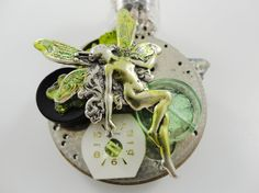 Steampunk Pin Brooch Green Absinthe Fairy by DrBrassysSteampunk, $40.00