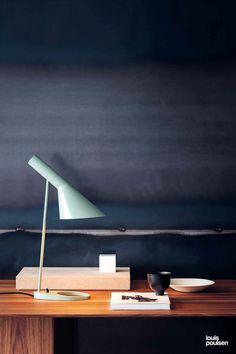 Louis Poulsen Lighting AJ Table lamp in pale petroleum Arne Jacobsen Lampe, Modern Exterior Doors, Exterior Lighting, Task Lighting, Cool Lighting, Room Lamp, Desk Lamp, Table Lamps, Danish Interior