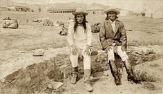 Apache Chief Naiche and Geronimo, prisoners of war at Ft. Bowie.