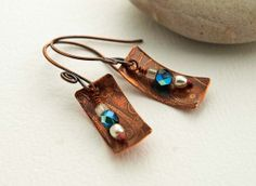 Etched copper antiqued with pearls and by DragonflyDreamers, $22.00